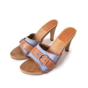 COACH clogs sandals leather blue canvas sz8
